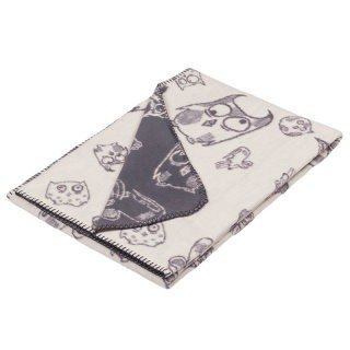 Fabulous Goose ultra-soft bristles blanket organic cotton Series - Owl (gray)