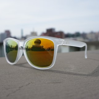 Sunglasses│Transparent White Frame│Orange Lens│ UV400 protection│2is Chris