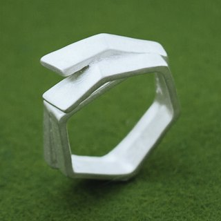 Unisex ring - Matt silver ring - Japanese design - Geometric ring