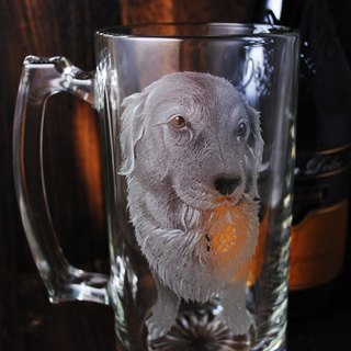 740cc [made] pet portrait cup (Realistic Version) pet dog carved glass beer mug golden retriever custom-made