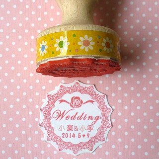 Customized lace seal 3.5 cm lace chapter wedding seal shop chapter name chapter wedding rubber wood chapter