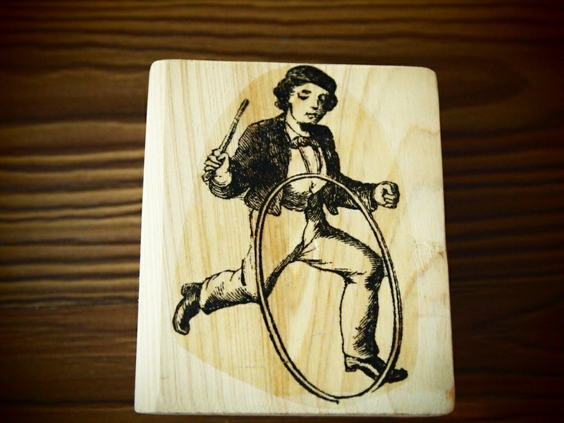 School boy American handmade rubber stamp: Made in USA