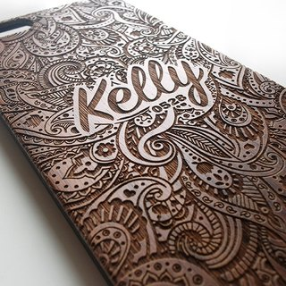 Real wood engraved iPhone SE / 6 / 6 Plus / 7 / 7 Plus case Paisley