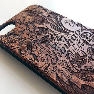 Real wood engraved iPhone SE / 6 / 6 Plus case F002
