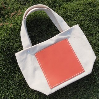 Handmade canvas bag square shape handbag Tote bag orange leather