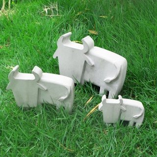 Greenology Cement Bull Decoration (Set of 3)