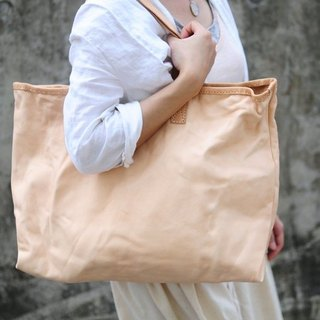 Hand Stitched Washed-Out Original Leather Tote Bag/ Hand Bag (Extra Large Size)