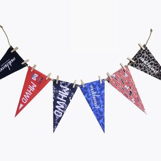 Matchwood Design Matchwood 2015 Triangle Flag American University Pennant Banner Set of six wooden frames and hemp rope