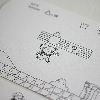 [B & W] Department ∙ large rounded postcard THIS IS LIFE (Reissue) / inspired by Super Mario