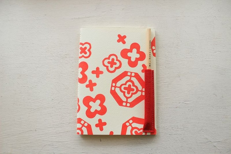 【ZhiZhiRen】厵 | 車縫線筆記本 - 前金窗花-大