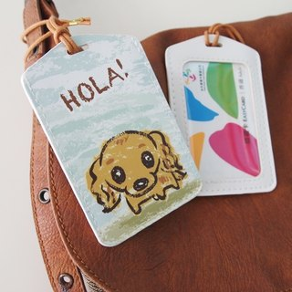 Multi-function card holder key ring -Hola! Dachshund dog