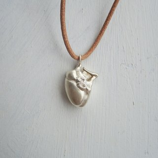 organs - heart silver pendant with leather necklace