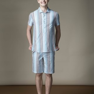 Sevenfold Gradient Striped Short Sleeved Shirt gradient striped short-sleeved shirt (blue / brown)