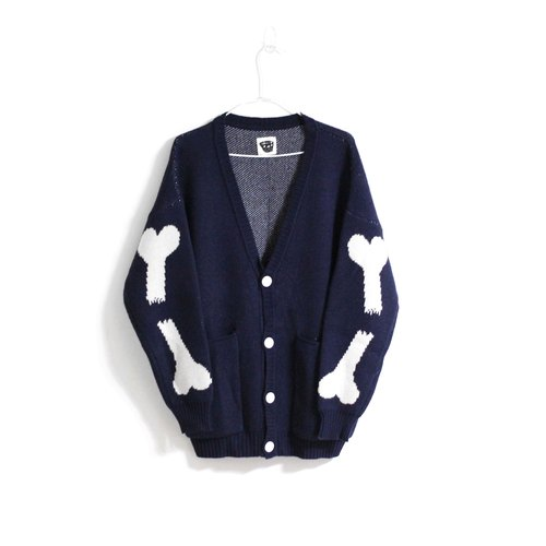 [] Fsize Noddlefu satisfied tofu dog bones knit pounds thick coat (yellow / blue and white) left blue