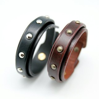 Light Punk system - Double leather bracelet 2cm
