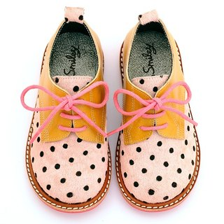 Beven Smiley. MIT full leather children shoes Derby (horse hair models - Yellow + Pink) polka dot handmade shoes