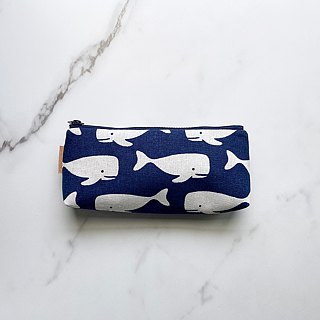Handmade small whale pattern pencil case