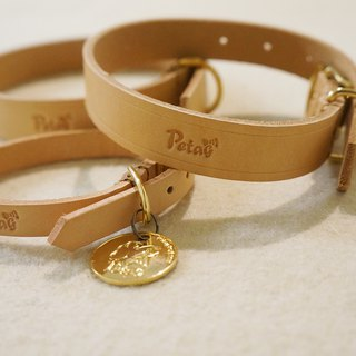 (Set) Leather Collar (M) + Golden Circle Qrcode Pet Smart Collar