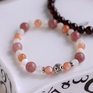 Orange sun stone*pearl*Purple East Link sterling silver bracelet