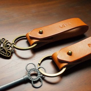 Customized lover, girlfriends, light brown leather key ring set