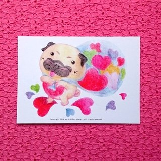 Pug postcard - All is full of Love