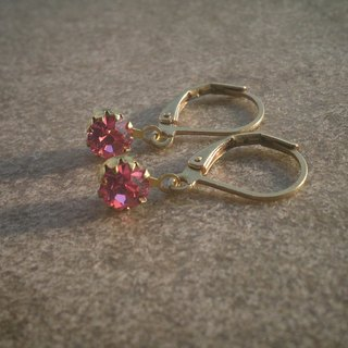 Simple Pink Swarovski Earrings