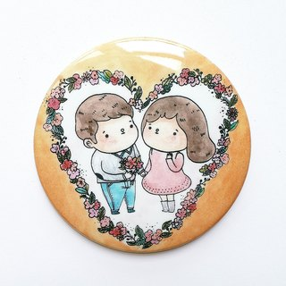 Elvis unappealing color illustration medallion / ballad theme YOU AND ME / 58mm / Valentine's Day wedding was small / yellow