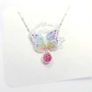 * Haku‧Neko * Color White pattern hand painted butterfly pink flashing glass necklace