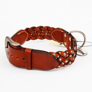 Ella Wang Design series rivet leather stitching leather collar - brown (coffee) pet collar