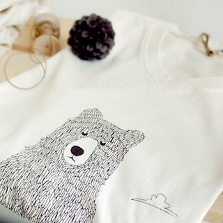 保護森林的熊 V領有機棉 T-shirt (Bear protect the forest)