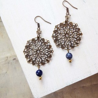 European and American classic retro flower blue lines may pass natural stone earrings