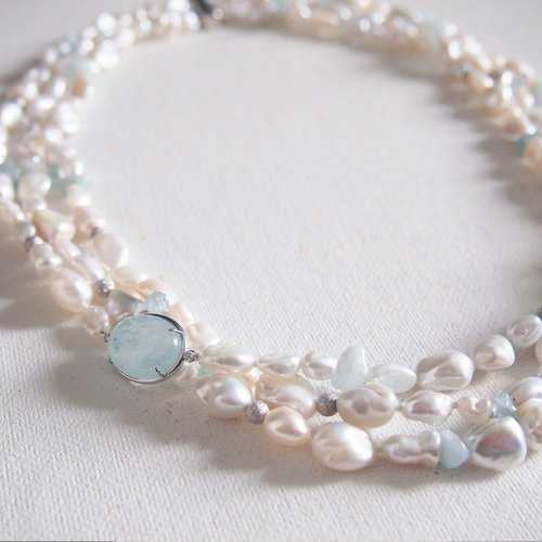Free Shipping Post: aquamarine stone [brave] natural pearl necklace with irregular