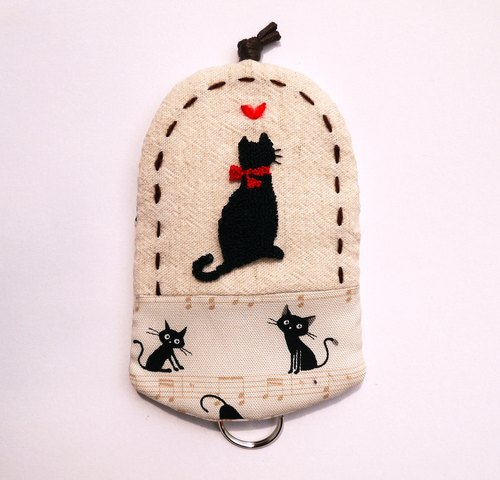 Red bow tie black cat embroidery Wallets