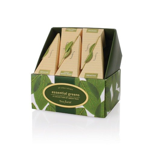 Tea Forte 10入金字塔絲質茶包 - 極品綠茶 Essential Greens Petite Ribbon Box