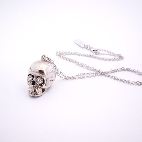 Skull pendant in white bronze with CZ stone ,Rocker jewelry ,Skull jewelry,Biker jewelry