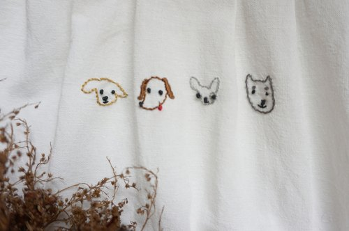 white cotton and linen dresses with dogs embroidery
