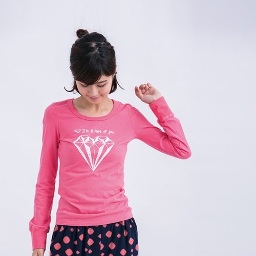 Diamond Peach female long-sleeved cotton T rose pink