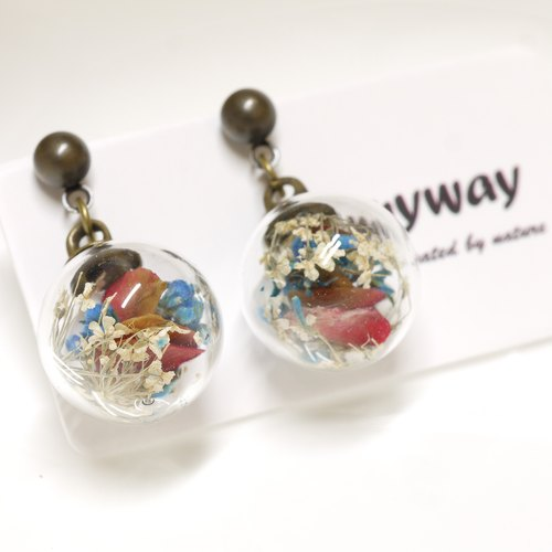 「OMYWAY」Dried Flower - Glass Globe- Earrings- Drop Earrings - Drop Clip on Earrings – Clip Earrings