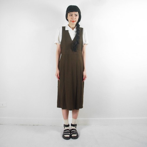 (Special) dark brown pleated skirt vest vintage