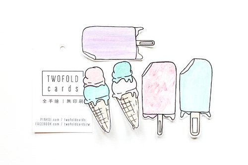100% Hand Drawn Stickers - Summertime Desserts - Ice Cream Cone, Popsicle
