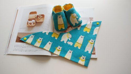 Blue polar bear births gift baby shoes + triangle scarf