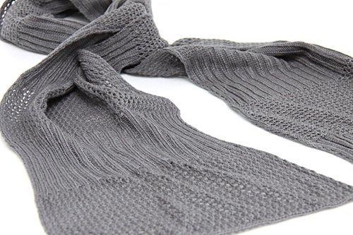 [Around] elegant gray dress nets double rib structure Scarves