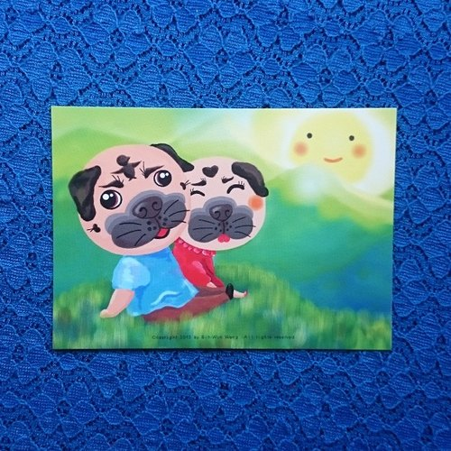 Pug Postcard-Together with you-04