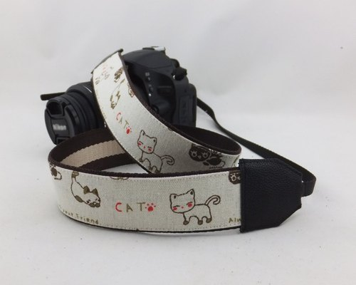 Handmade custom SLR single micro camera strap shoulder strap with cute cartoon style kitten art 102 paragraph