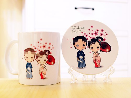 """. Wedding for LOVE small wedding was"" the first generation Q version of the style - cherry kimono. Mug (straight) - a combination of coaster"