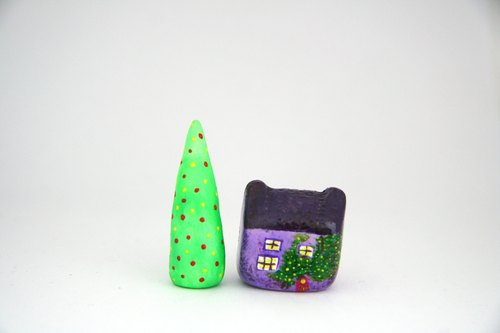 Little House Little House - meow star people English country house (violet) / green cedar