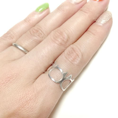 Ring : Silver 950 cat face design/US size 5-10<unisex>
