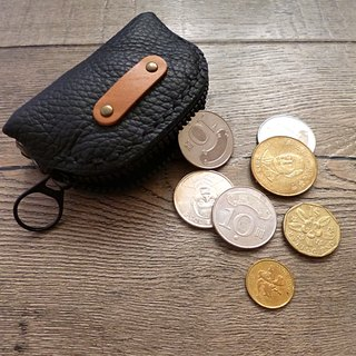 POPO│ charcoal black palm lightweight key │ │ pure small leather purse