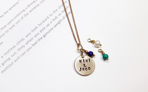 "Necklace ◎ carved lettering brass necklace 【female models】 (3 election 1 → lapis lazuli, turquoise stone, pearl) ""Valentine's Day / Christmas gift"" 【Customized】"