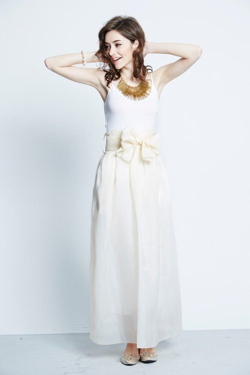 Maxi Skirt with Bow Belt (cream)